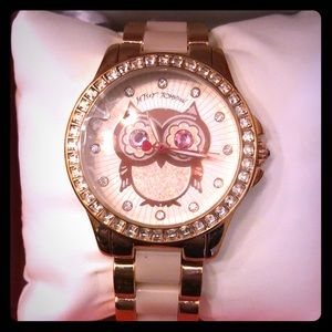 Betsey Johnson Rose Gold/Blush Owl Watch